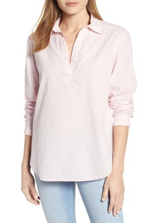 Lou & Grey Pop-On Crinkled Cotton Blouse