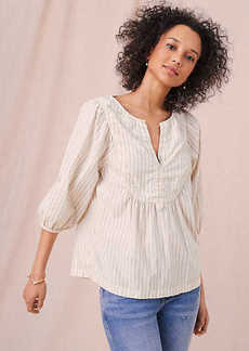 Lou & Grey Pinstripe Peasant Blouse