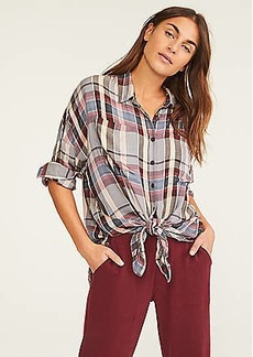 Lou & Grey Plaid Cozy Tie Front Shirt