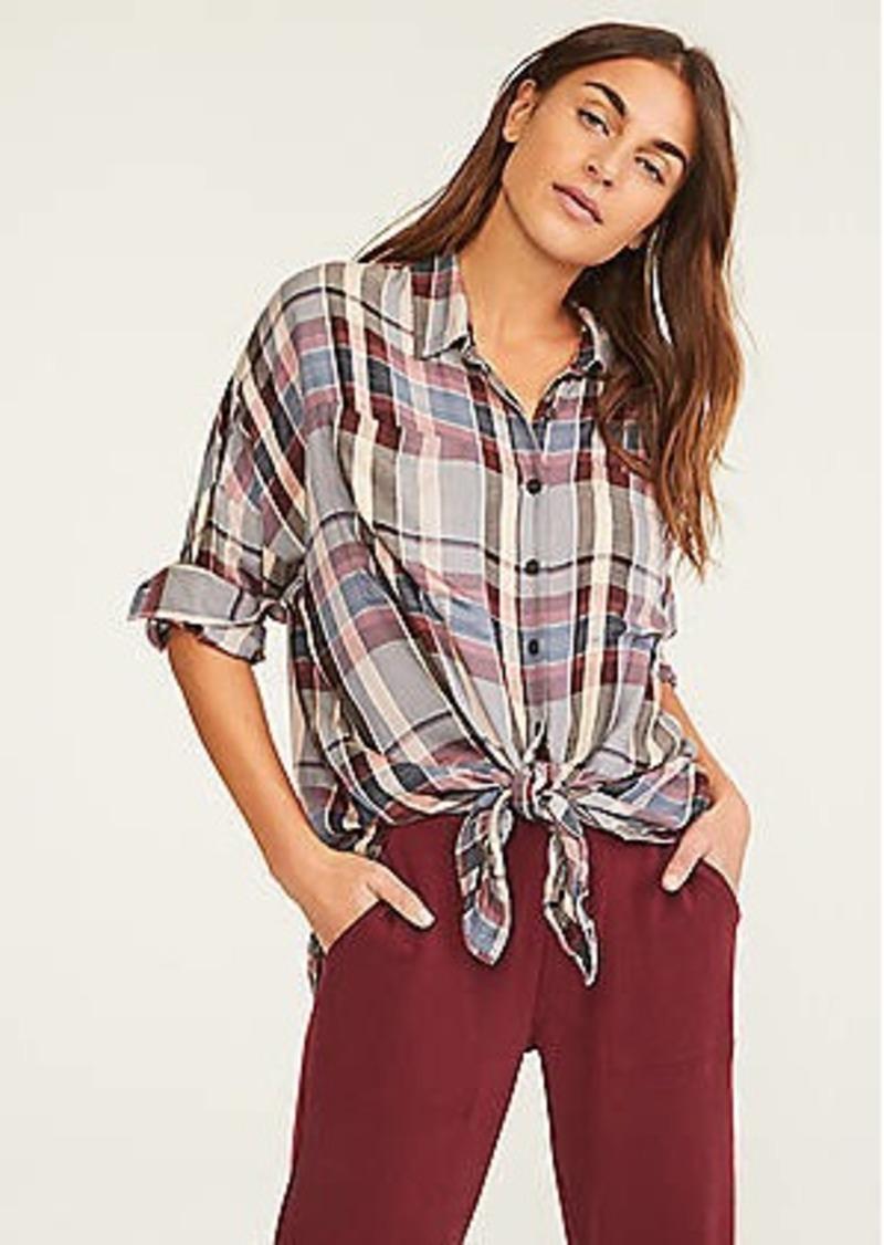 Lou & Grey Plaid Cozy Tie Front Shirt