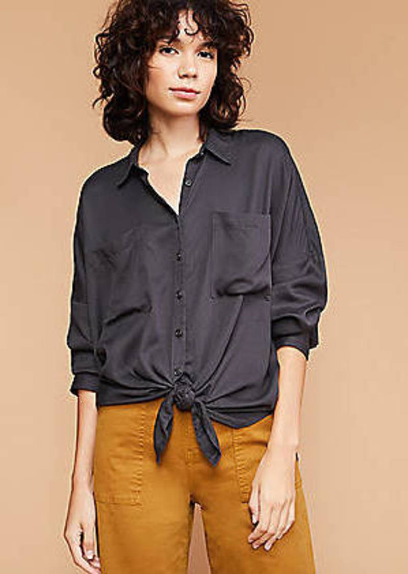 LOFT Lou & Grey Fluid Twill Tie Front Shirt