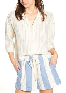 Lou & Grey Stripe Boucl? Crop Shirt