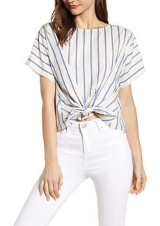 Lou & Grey Stripe Tie Front Top