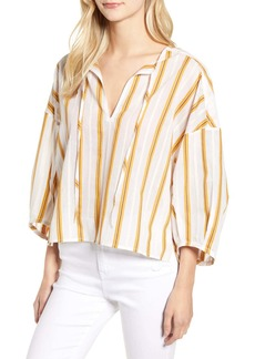 Lou & Grey Stripe Tie Neck Top