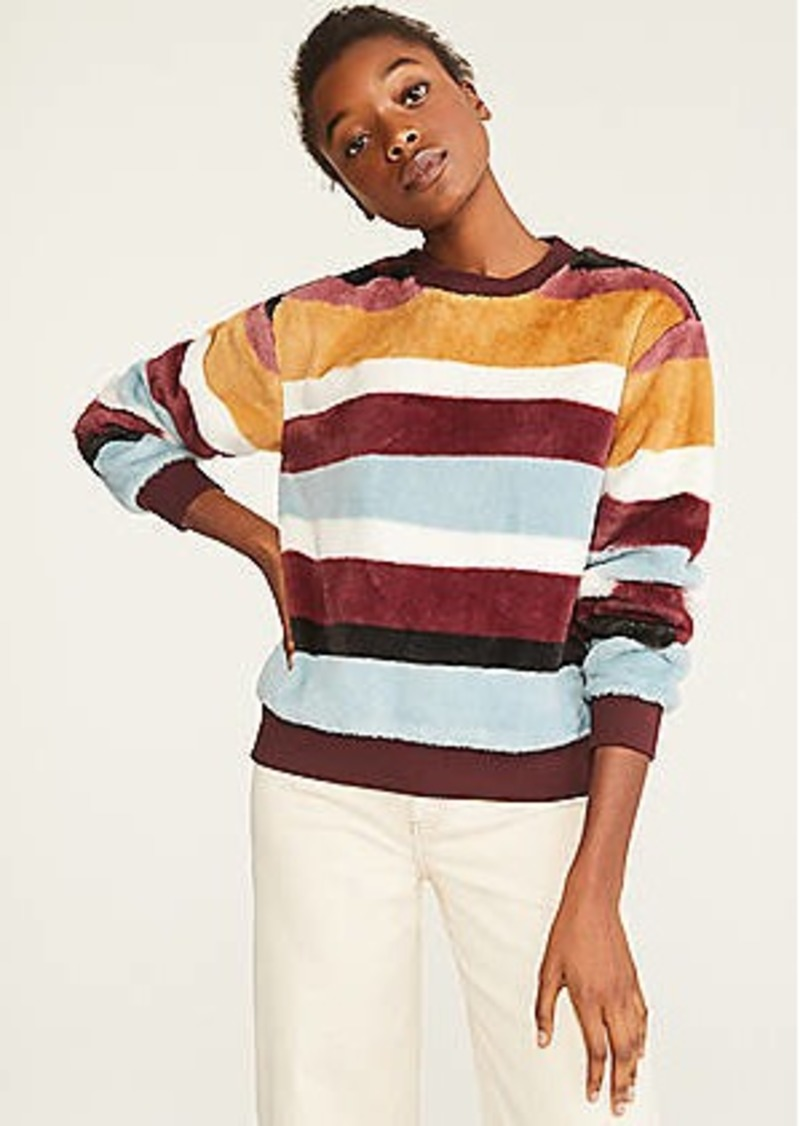 Lou & Grey Striped Faux Fur Sweatshirt