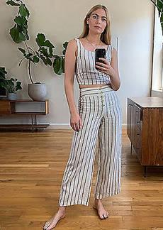 Lou & Grey Striped High Rise Button Front Wide Leg Linen Pants