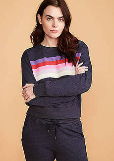 Lou & Grey Sundry Stripes Crop Blouson Sweatshirt