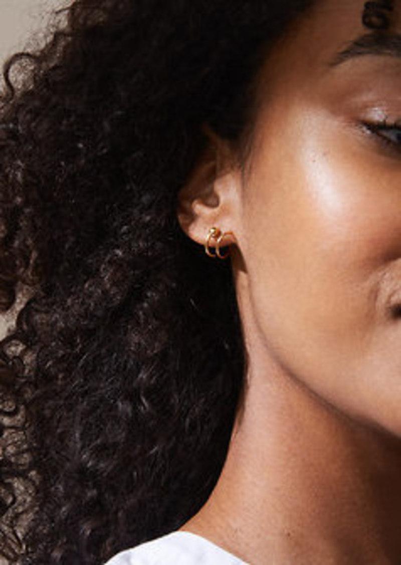 Lou Grey Tai Jewelry Spiral Ball Huggie Earrings
