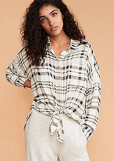 Lou & Grey Textured Plaid Cozy Tie Front Shirt
