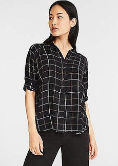 Lou & Grey Windowpane Crinkle Henley Tunic Shirt