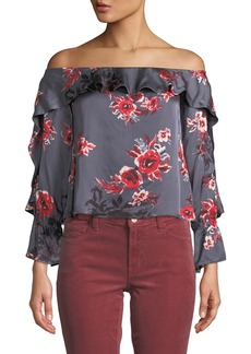 Lovers + Friends Addie Off-the-Shoulder Floral Cropped Blouse