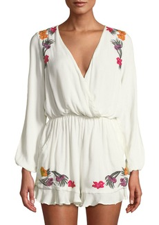 Lovers + Friends Adriana Floral-Embroidered Split-Sleeve Romper
