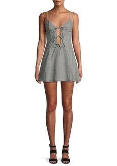 Lovers + Friends Beth Gingham-Print Tie-Front Mini Dress