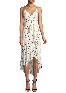 Lovers + Friends Bridget Dot-Print Flounce Midi Dress