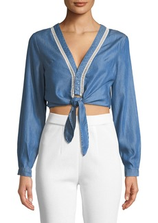 Lovers + Friends Carmine Tie-Front Chambray Blouse