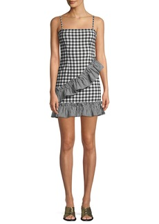 Lovers + Friends Gabby Sleeveless Gingham-Print Ruffle Short Dress