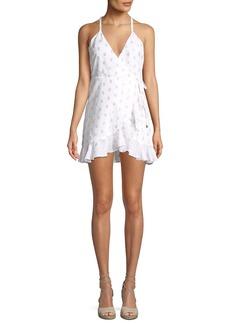 Lovers + Friends Gigi Dot-Print Flounce Wrap Dress