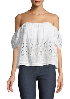 Lovers + Friends Life's A Beach Off-The-Shoulder Eyelet Blouse