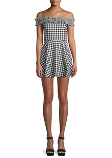 Lovers + Friends Lorrie Off-Shoulder Gingham Ruffle Mini Dress