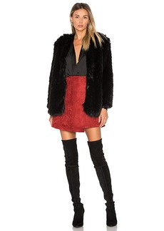 Lovers + Friends Adora Faux Fur Jacket in Black. - size L (also in M,S,XS)