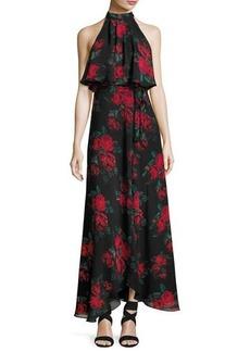 Lovers + Friends Golden Ray Rose-Print Chiffon Maxi Dress