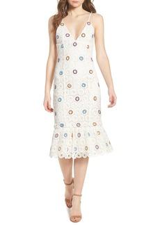 Lovers + Friends Iris Embroidered Midi Dress