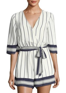 Lovers + Friends Isabelle Faux-Wrap Striped Romper