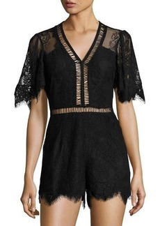 Lovers + Friends Josephine Short-Sleeve Lace Romper