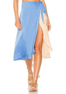 Lovers + Friends Margarita Midi Skirt in Blue. - size L (also in M,S,XS)