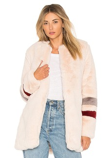 Lovers + Friends Oakley Fax Fur Coat in Blush. - size L (also in M,S,XS, XXS)