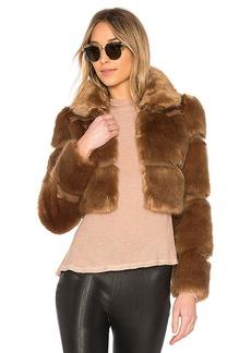 Lovers + Friends Parker Faux Fur Coat in Tan. - size XXS (also in L,M,S,XS)