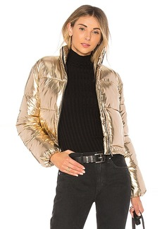 Lovers + Friends Ripley Puffer in Metallic Gold. - size L (also in M,S,XS, XXS)