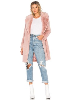 Lovers + Friends Romy Faux Fur Coat in Pink. - size M (also in S,XS, XXS)