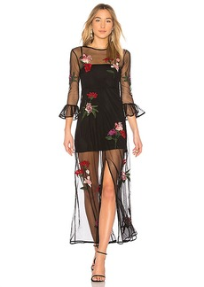 Lovers + Friends Tallon Embroidered Maxi in Black. - size XXS (also in M,S,XS)