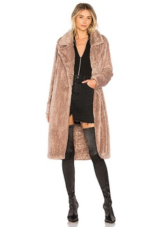 Lovers + Friends Teddy Fur Coat in Tan. - size L (also in M,S,XL, XS, XXS)