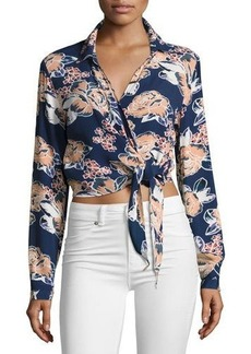 Lovers + Friends Valley Floral Wrap Crop Top