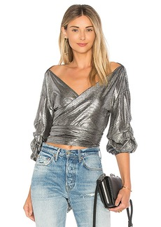 Lovers + Friends x REVOLVE Bow Blouse in Metallic Silver. - size M (also in XS, XXS)