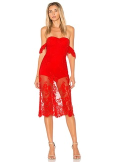 Lovers + Friends x REVOLVE Breathless Midi Dress in Red. - size L (also in M,S,XS)