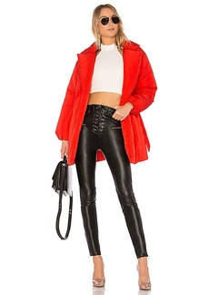 Lovers + Friends x REVOLVE Calla Lily Belted Puffer in Red. - size L (also in M,S,XS, XXS)