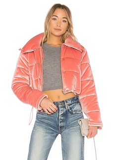 Lovers + Friends x REVOLVE Dee Cropped Puffer in Pink. - size L (also in M,S,XL, XS, XXS)