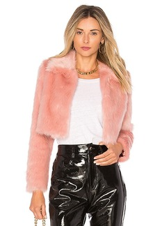 Lovers + Friends x REVOLVE Dixie Fur Jacket in Pink. - size L (also in M,S,XL, XS)
