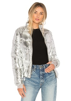 Lovers + Friends x REVOLVE Edelweiss Puffer in Metallic Silver. - size L (also in M,S,XS, XXS)