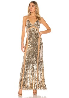 Lovers + Friends x REVOLVE Loyal Gown in Metallic Gold. - size M (also in S,XS, XXS)