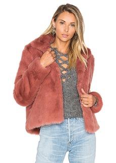 Lovers + Friends x REVOLVE Mia Faux Fur Jacket in Mauve. - size L (also in XL)