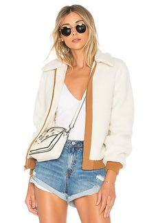 Lovers + Friends x REVOLVE Simone Faux Fur Jacket in Ivory. - size L (also in M,S,XL, XS)