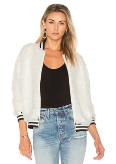 Lovers + Friends x REVOLVE The Going Out Sequin Bomber in Ivory. - size L (also in M,S,XS)