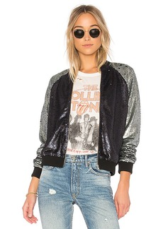 Lovers + Friends x REVOLVE The Sequin Bomber in Blue. - size L (also in M,S,XS, XXS)