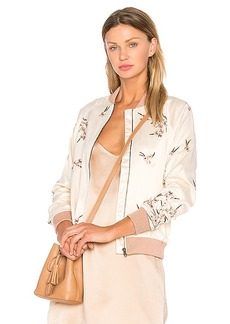 Lovers + Friends x REVOLVE Worldwide Bomber in Cream. - size L (also in M,S)