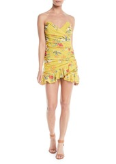 Lovers + Friends Casey Ruched Strapless Floral Mini Dress
