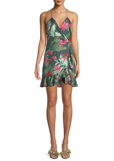 Lovers + Friends Gigi Halter Floral-Print Mini Wrap Dress